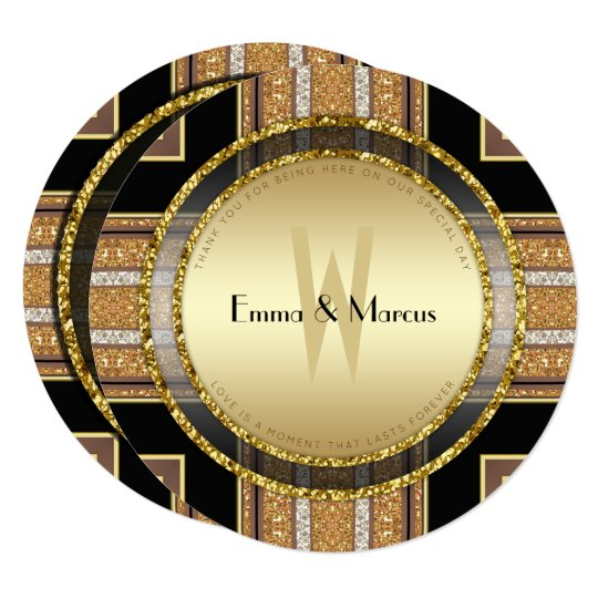 V1 Art Deco Gold Glitter Round Wedding Invitation