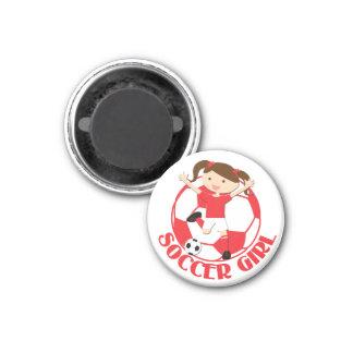 V2 rouge et blanc de la fille 1 et de la boule du magnet carré 2,50 cm