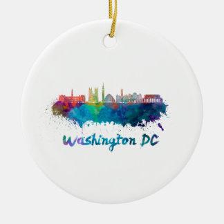 V2 Washington DC skyline in watercolor Ceramic Ornament