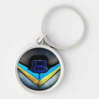V8 Emblem Art Silver-Colored Round Keychain