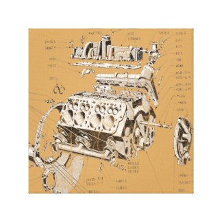 V8 engine canvas print