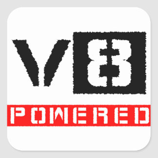 V8  powered square sticker