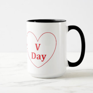 V Day Black 15 oz Combo Mug