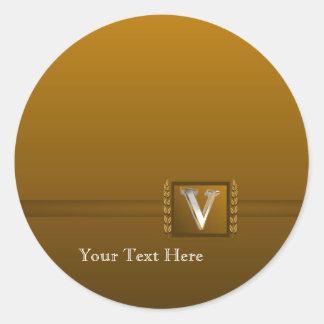V – Elegant 3D Monogram Round Stickers