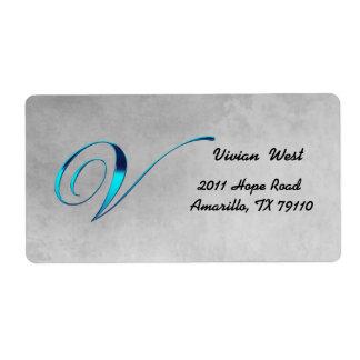 V Elegant Monogram Address Label