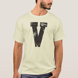V for Villegas Black and White Distressed T-Shirt