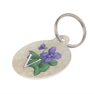 V for Violet Flower Alphabet Monogram Pet ID Tag