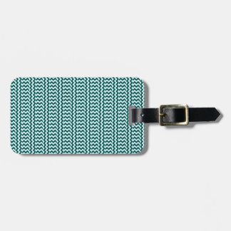 V&H Simple Zigzag - Celeste and Deep Jungle Green Luggage Tag