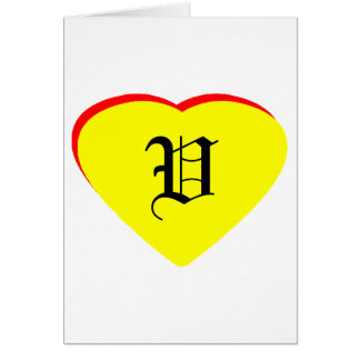 """""""V"""" Heart Yellow Red Wedding Invitation The MUSEUM Cards"""