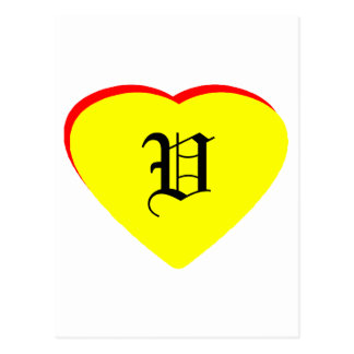 """""""V"""" Heart Yellow Red Wedding Invitation The MUSEUM Post Card"""