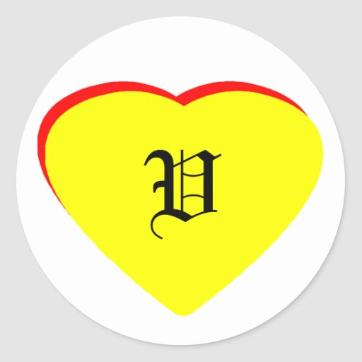 """""""V"""" Heart Yellow Red Wedding Invitation The MUSEUM Round Stickers"""