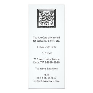 """V Initial from A Monk of Fife 4"""" X 9.25"""" Invitation Card"""