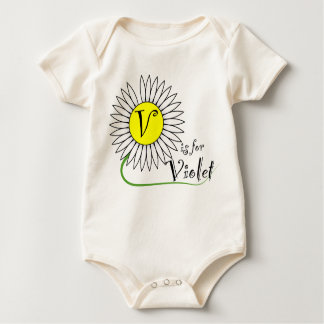 V is for Violet Daisy Baby Bodysuit