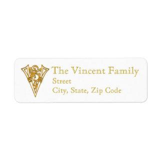 "V Monogram ""Irish Gold"" design Address Labels"