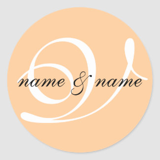 V monogram label - personalize first names