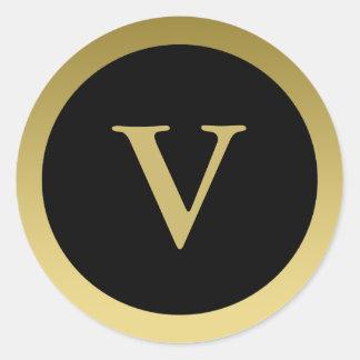 V :: Monogram V Elegant Gold and Black Sticker