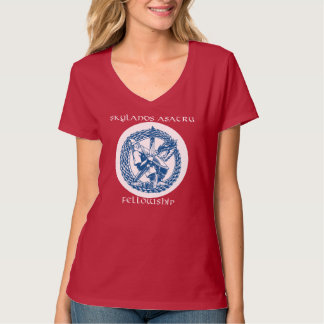 V-neck T-shirt with tribe logo