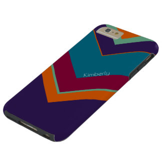 V Pattern Personalized In Orange, Purple And Blues Tough iPhone 6 Plus Case