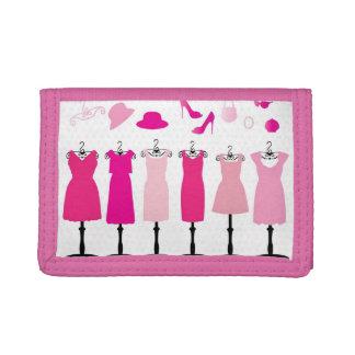 V Pink Dress -TriFold Nylon Wallet