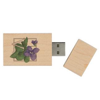 V pour le monogramme floral violet clé USB 2.0 en bois