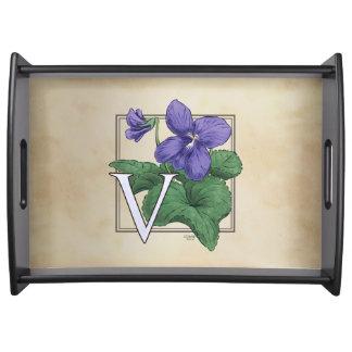 V pour le monogramme floral violet plateaux