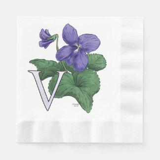 V pour le monogramme floral violet serviette jetable