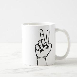 V-sign hand coffee mug
