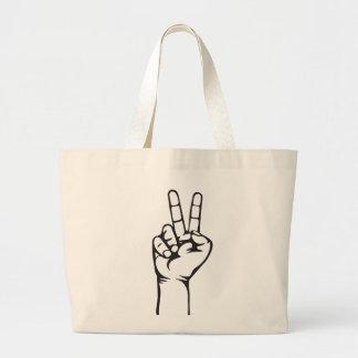 V-sign hand large tote bag