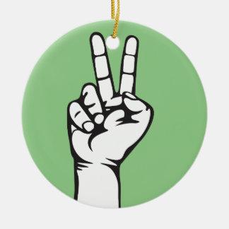 V-sign hand round ceramic ornament
