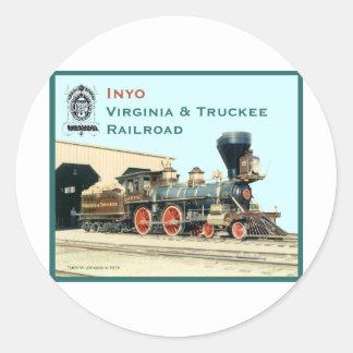 V&T Railroad Inyo engine Round Sticker
