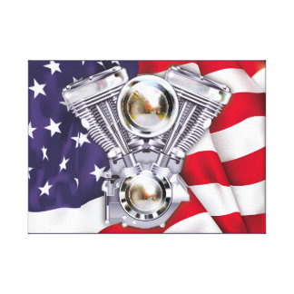 V-Twin Engine and American Flag Stretched Canvas Print