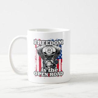 V-Twin Freedom Is The Open Road Bikers Classic White Coffee Mug