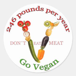 """V"" with vegetarian slogan Classic Round Sticker"