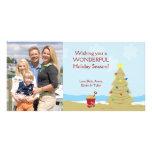 Vacances 8x4 de château de sable d'arbre de Noël d Cartes De Vœux Avec Photo