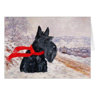 Vacances d'hiver de Terrier d'écossais Carte De Vœux