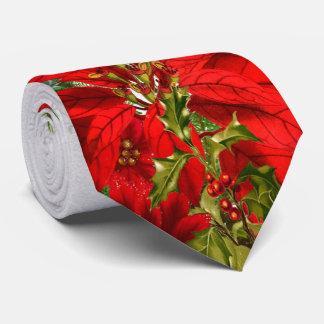 Vacances élégantes de poinsettia et de flocon de cravate