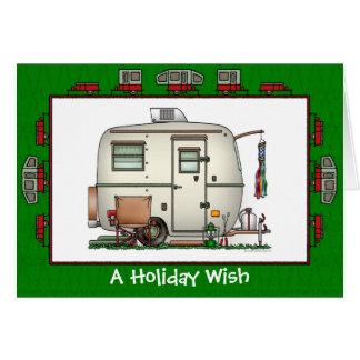 Vacances en verre vintages mignonnes de remorque d carte de vœux