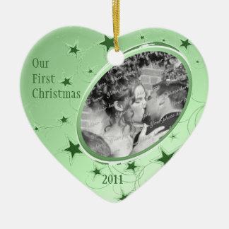 Vacances tout le vert de photo d'étoiles ornement cœur en céramique