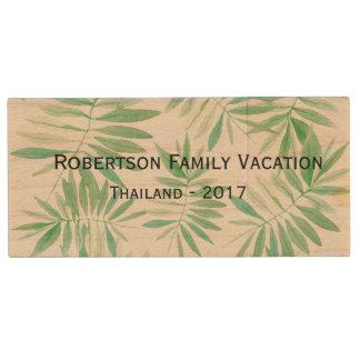 Vacation/ Holiday photo drive - Tropical fern Wood USB 2.0 Flash Drive