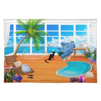 VACATION HOME GIFTS, CUTE CAT AT SPA, PALM TREES PLACEMAT