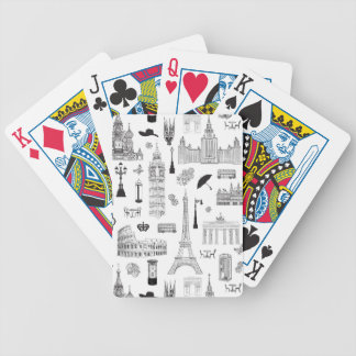 Vacation In Europe Pattern Bicycle Playing Cards