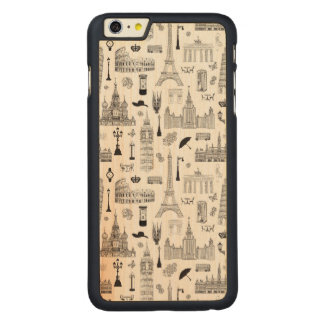 Vacation In Europe Pattern Carved Maple iPhone 6 Plus Case