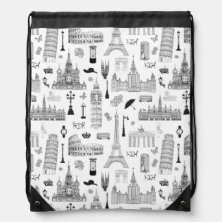 Vacation In Europe Pattern Drawstring Bag