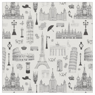 Vacation In Europe Pattern Fabric