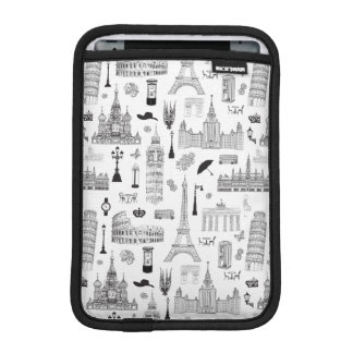 Vacation In Europe Pattern iPad Mini Sleeve