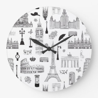 Vacation In Europe Pattern Large Clock