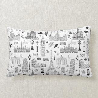 Vacation In Europe Pattern Lumbar Pillow