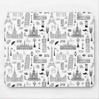 Vacation In Europe Pattern Mouse Pad