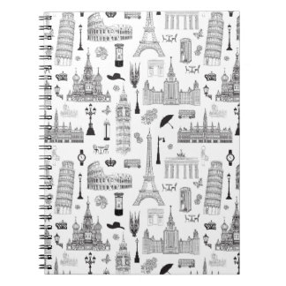 Vacation In Europe Pattern Notebooks