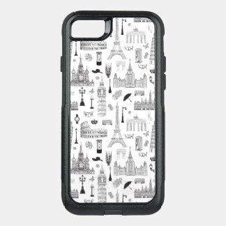 Vacation In Europe Pattern OtterBox Commuter iPhone 8/7 Case